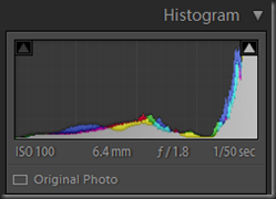 RAW histogram before processing - very much over to the right - the jpg was even worse