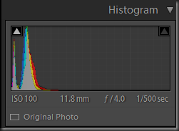Histogtam of the RAW exposure showing peaks very near the left hand side