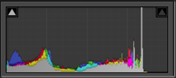 jpg histogram showing some combing, but certainly less dynamic range available